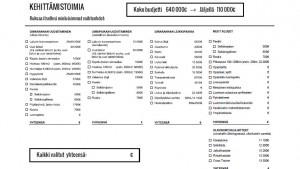 Kuva 3 Valittavien toimenpiteiden kustannukset lomakkeella