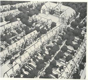 Kuva. Suunnitelman työväestön kytketyt omakotitalot  keskeisen koulurakennuksen dominoimina. Alue sijaitsee Munkkiniemen luoteisimmassa osassa teollisuuskortteleiden saartamana.