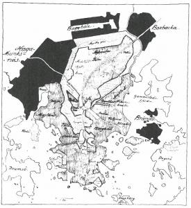Kuva 3. Jungin tapa liittää yksityiset esikaupungit (mustalla) Helsinkiin kehämäisen puisto- ja metsävyötärön avulla. Pilkutettu viiva vihervyöhykkeellä saattaa viitata autoliikenteeseen, jonka tulevasta ekspansiosta siihen aikaan ei voitu kuvitella.