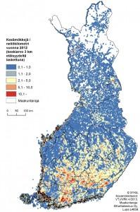 Kuva 1. Vapaa-ajan asuntojen alueellinen levinneisyys Suomessa 2012 (Kartta: SYKE/Antti Rehunen)