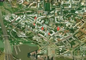 Kuva 2. Linjojen nykyinen rakennettu ympäristö. Tutkimusalue Puu-Kallio ja väestöllisesti tarkastellut kiinteistöt merkitty punaisella (Bing maps -karttapalvelu 2015, muokannut Mäkelä 2015).